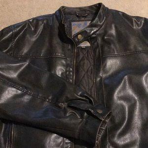Men's dark brown faux leather jacket